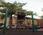 This guy displayed his passion for calisthenics. He performed fantastic swinging tricks on horizontal poles. The talented guy successfully showed off his body strength while performing mind-blowing tricks.<br/>*The underlying music rights are not available for license. For use of the video with the track(s) contained therein, please contact the music publisher(s) or relevant rightsholder(s).
